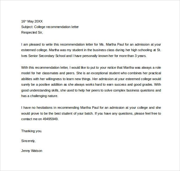 sample recommendation letter for student entering college