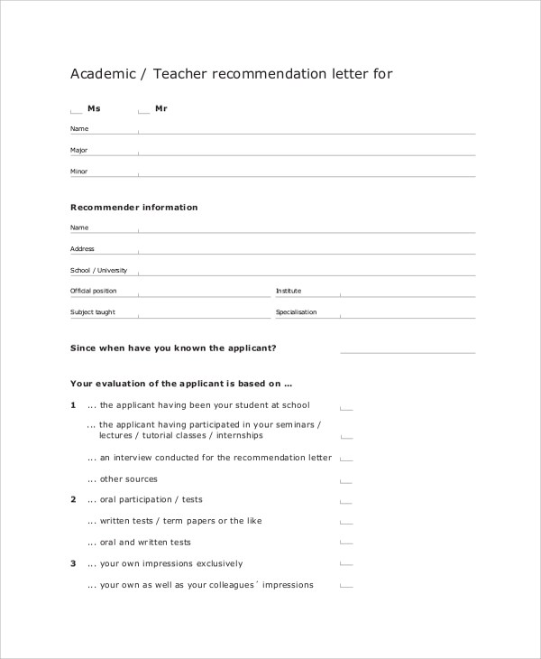 Sample Letters of Recommendation for a Teacher - 9+ Examples in Word