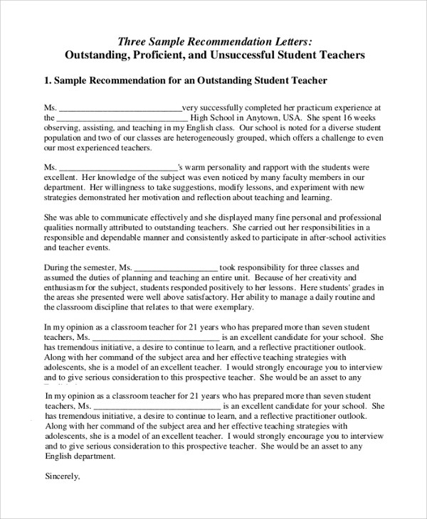 Sample Letter of Recommendation for Teacher - 18+ Documents in Word - letter of reference