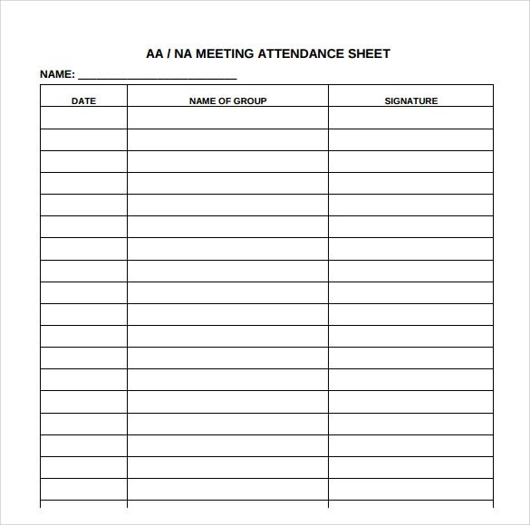 Attendance Sheet Templates - 10+ Download Free Documents in PDF - meetings template