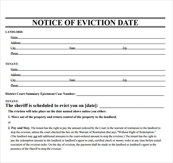 43+ Eviction Notice Templates \u2013 PDF, DOC, Apple Pages Sample Templates - eviction notice template word