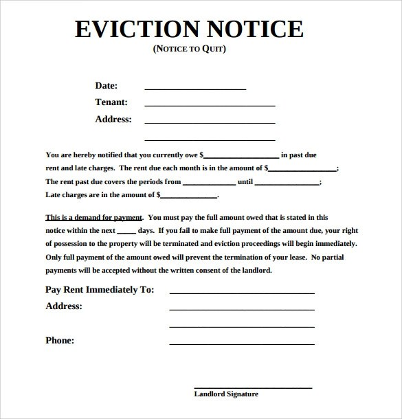 43+ Eviction Notice Templates \u2013 PDF, DOC, Apple Pages Sample Templates - Free Eviction Notices