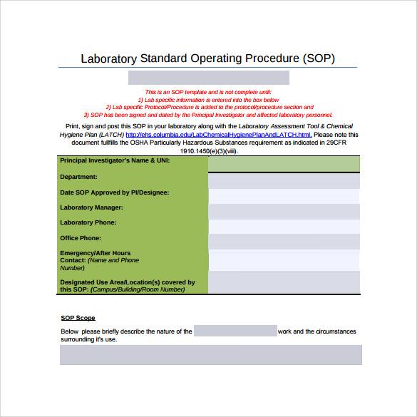free word sop template - Free Sop Templates