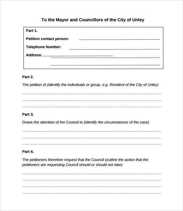24+ Sample Petition Templates \u2013 PDF, DOC Sample Templates - petition examples