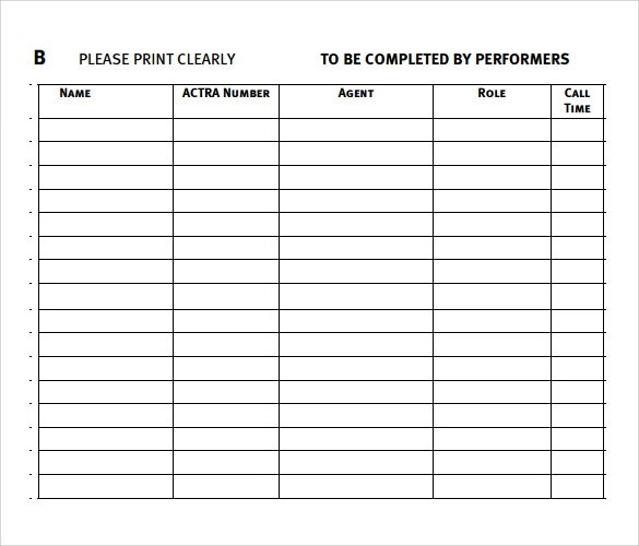 34 Free Sample Sign In Sheet Templates Sample Templates