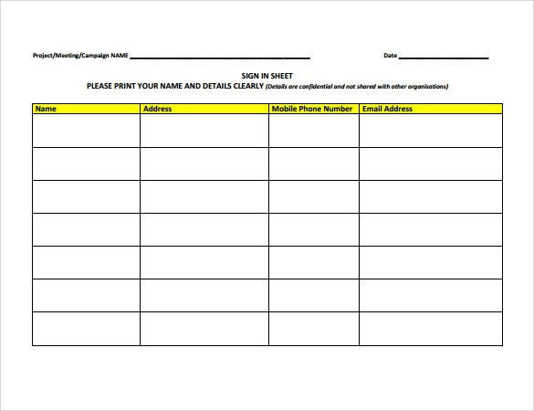 Visitor Sign In Sheet Template  Business Plan Food Manufacturing