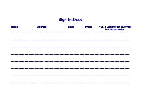 34 Free Sample Sign In Sheet Templates Sample Templates - name address phone number template