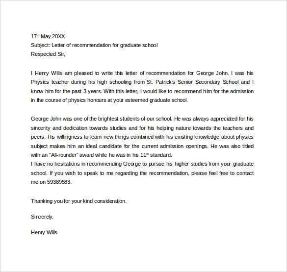 academic recommendation letter for graduate school