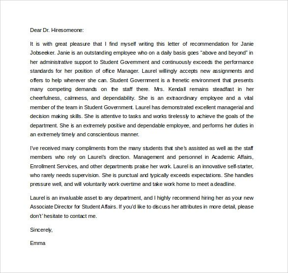letter of recommendation graduate school samples