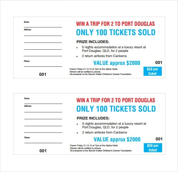 23+ Raffle Ticket Templates \u2013 PDF, PSD, Word, Indesign, Illustrator - Printable Ticket Templates