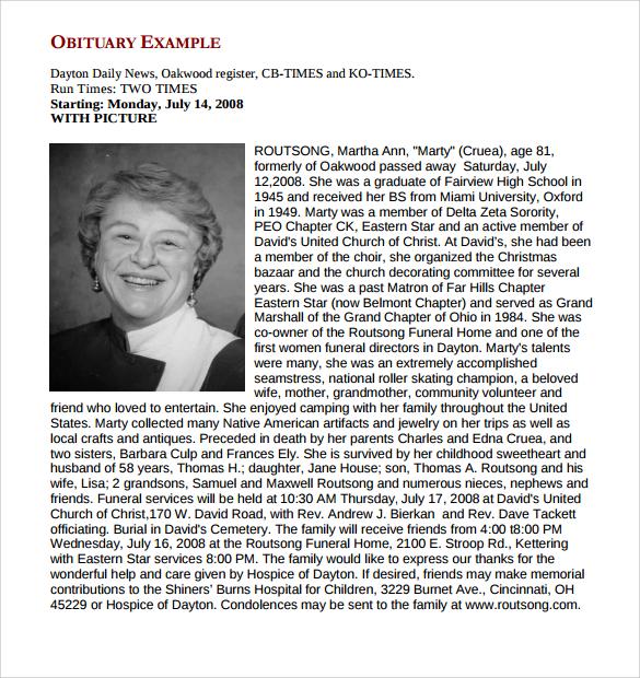 13+ Printable Obituary Templates Sample Templates