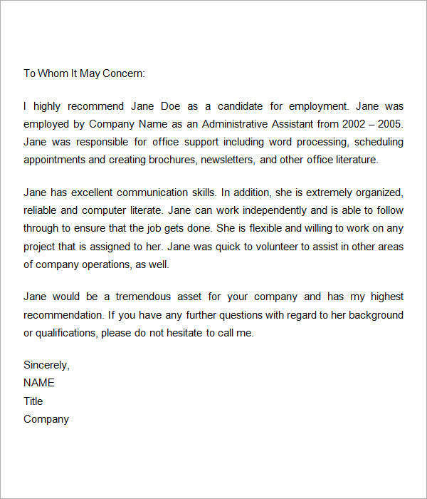 12+ Sample Recommendation Letters For Employment in Word Sample