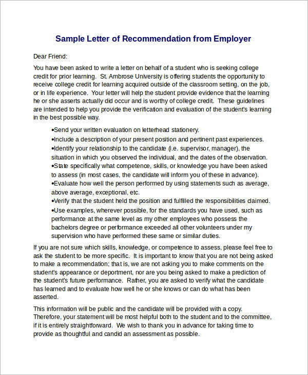 12+ Sample Recommendation Letters For Employment in Word Sample - Letters Of Recommendation Samples