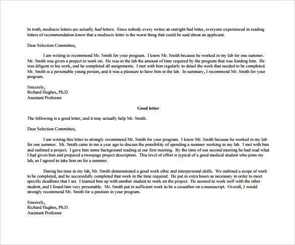 Sample Recommendation Letter For Student For Scholarship | Create