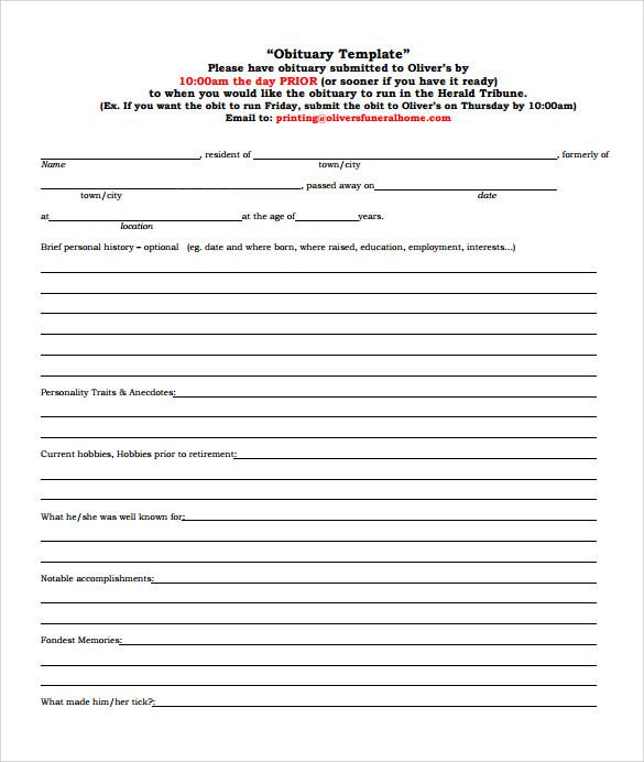 death obituary sample template - sample obituary