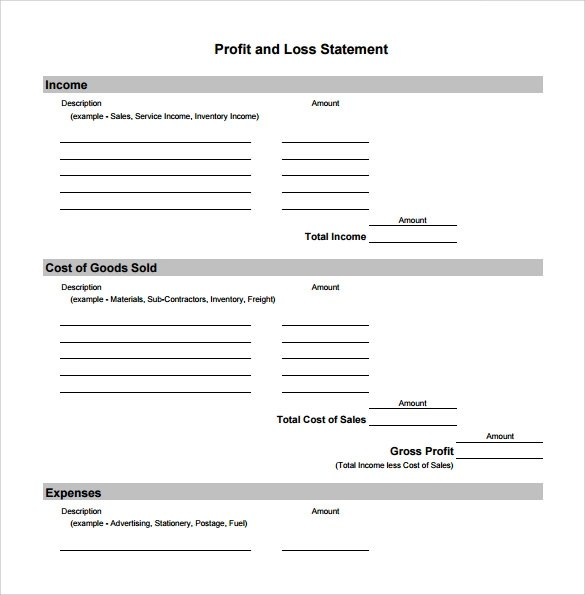 19 Sample Profit and Loss Templates Sample Templates
