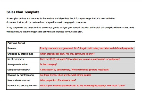 Sample Sales Plan Template - 24+ Free Documents in PDF, RTF, PPT - sales plan templates