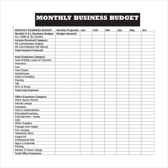 10+ Sample Business Budget Templates Sample Templates - sample monthly budget template