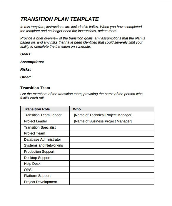 Sample Transition Plan - 9+ Documents in PDF - transition plan template