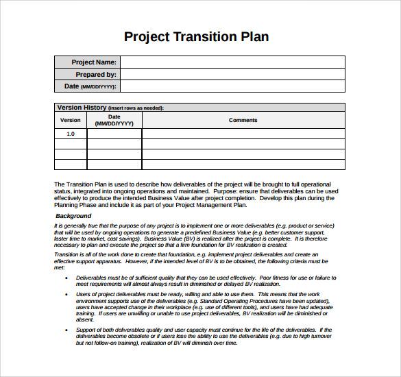 9+ Sample Transition Plans \u2013 PDF, Word, Pages Sample Templates