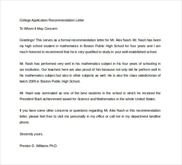 college application letter of recommendation - Josemulinohouse - letter of recommendation for college