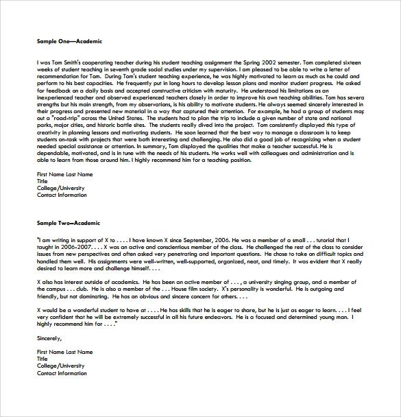 college recommendation letter template from teacher