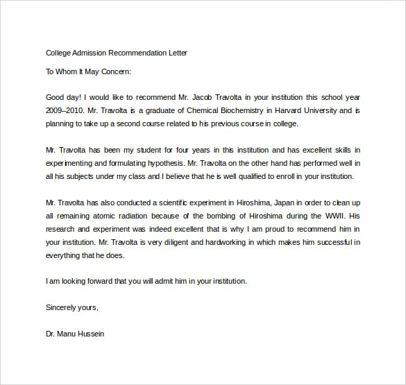 Sample Letter Of Recommendation Letter Samples Sample College Recommendation Letter 14 Free Documents