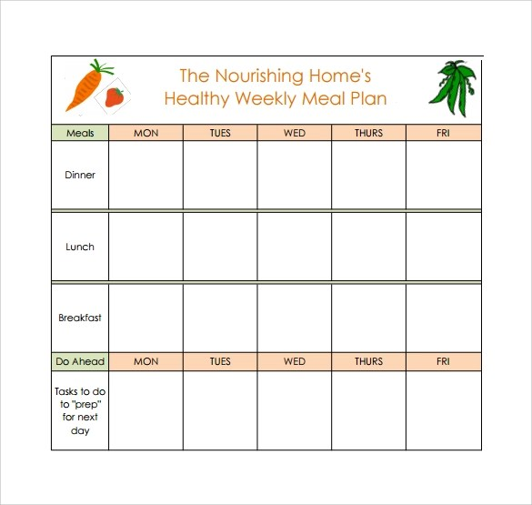 17+ Meal Planning Templates \u2013 PDF, Excel, Word Sample Templates - weekly healthy meal plan