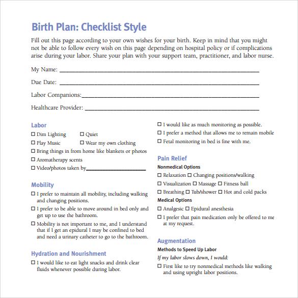 hospital birth plan checklist