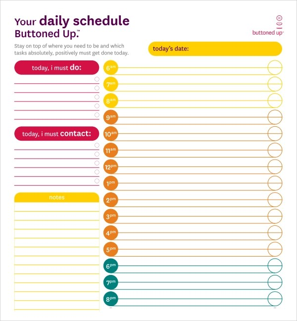 23+ Printable Daily Schedule Templates \u2013 PDF, Excel, Word Sample