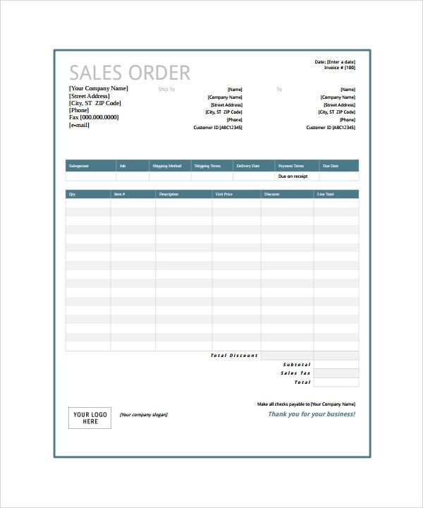 blank order form template excel