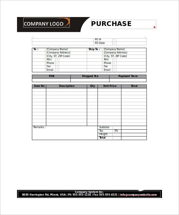 23+ Order Form Templates \u2013 PDF, Word, Excel Sample Templates - purchase order form free
