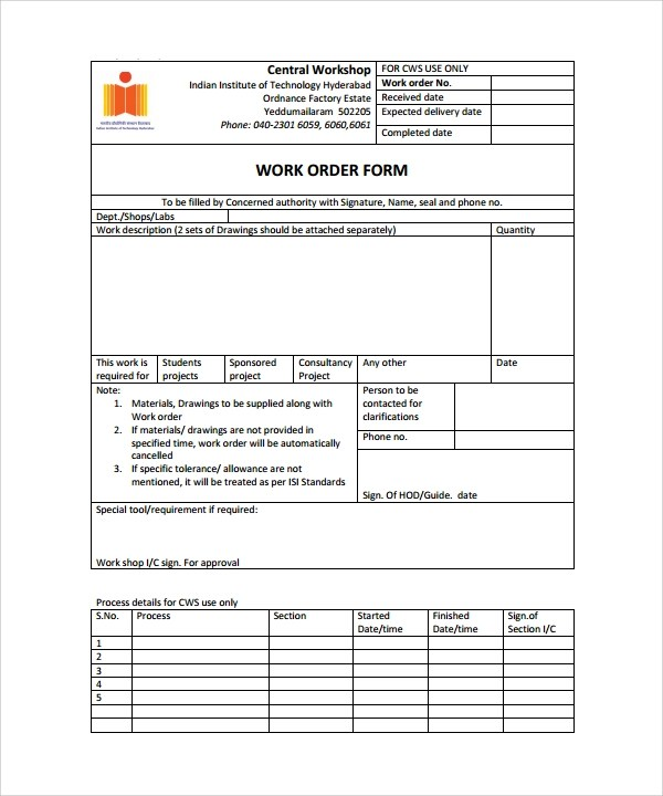 job order form template - order form word template