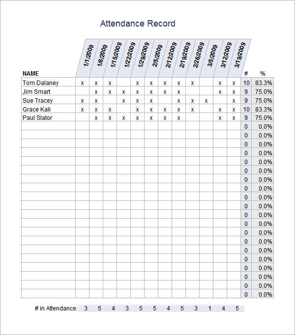 16+ Attendance Sheet Templates - PDF, Word, Excel
