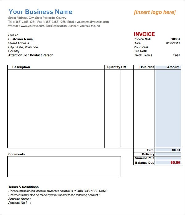 Basic Invoice Template Invoice Format Template Free Word Pdf - sample invoice format