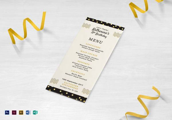 24+ Dinner Party Menu - PSD, Word