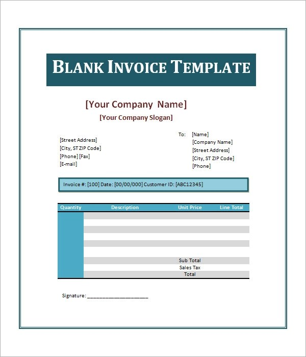 52+ Sample Blank Invoice Templates Sample Templates - free invoice word template