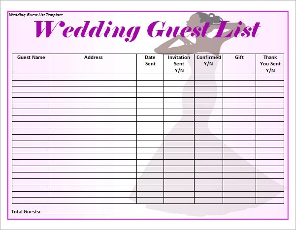 16+ Wedding Guest List Templates \u2013 PDF, Word, Excel Sample Templates - address template for word