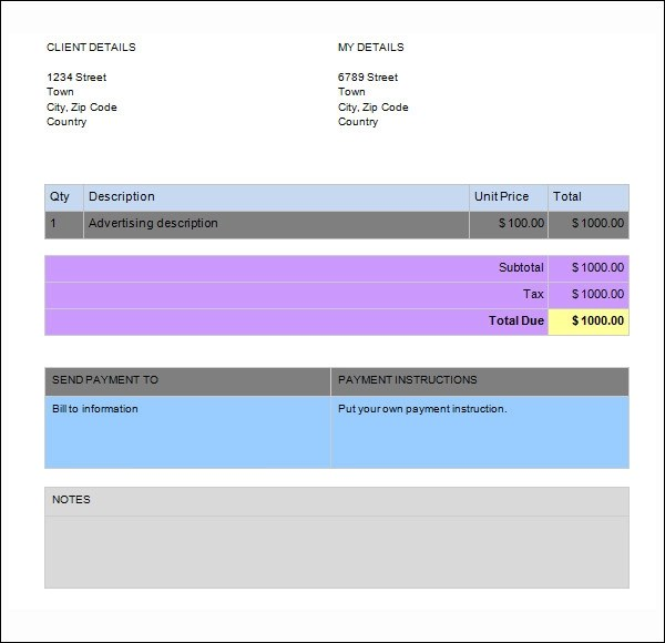 invoice for services rendered template - Yenimescale - services rendered invoice