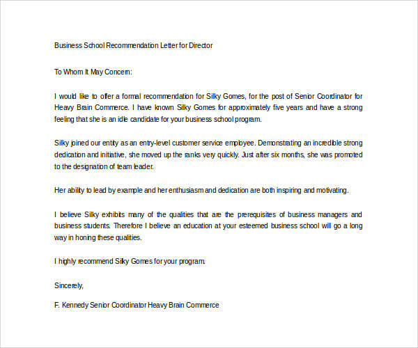 Letters of Recommendation for Graduate School - 38+ Download Free - mba recommendation letter