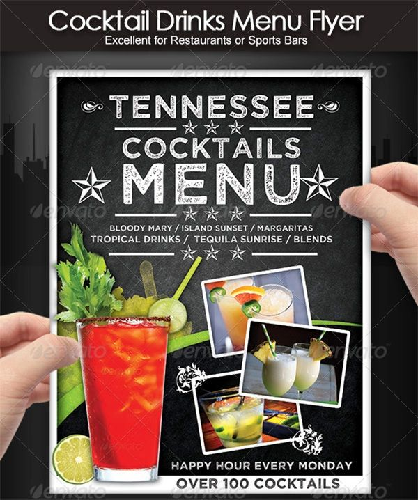 drinks menu templates free