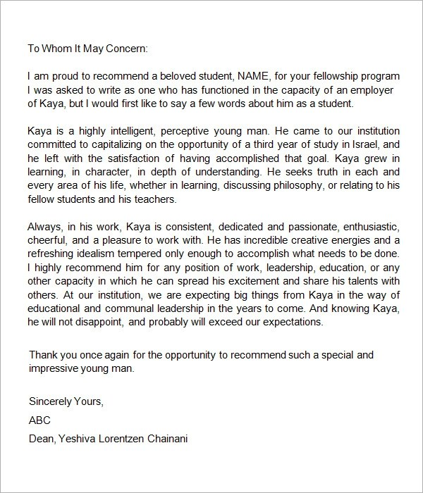 Nursing Letter Of Recommendation Free Sample Letters 7 Letters Of Recommendation For Student Sample Templates