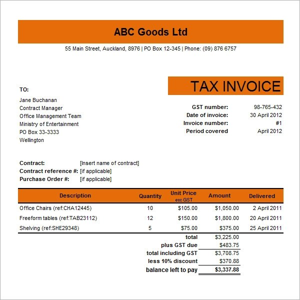 16 Customisable Tax Invoice Templates to Download Free Sample - Template For Invoice In Excel