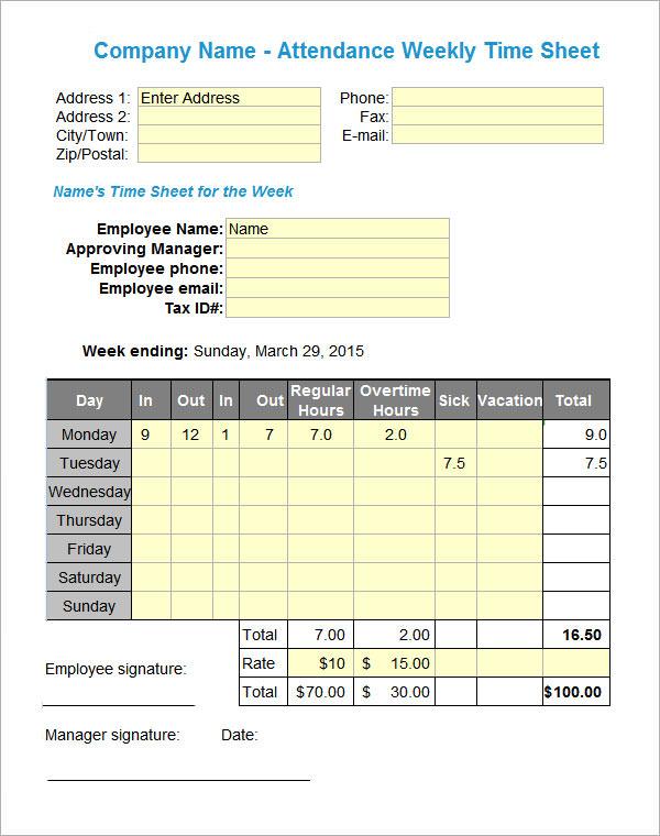16+ Attendance Sheet Templates \u2013 PDF, Word, Excel Sample Templates - excel attendance sheet download