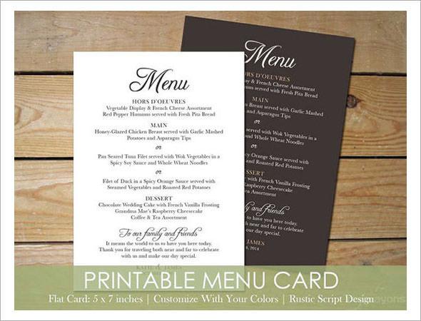 dinner party menu card template - party menu template