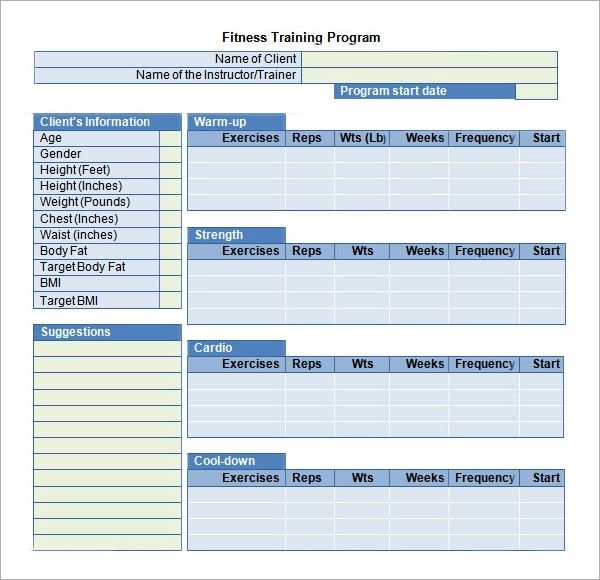 personal trainer program design templates