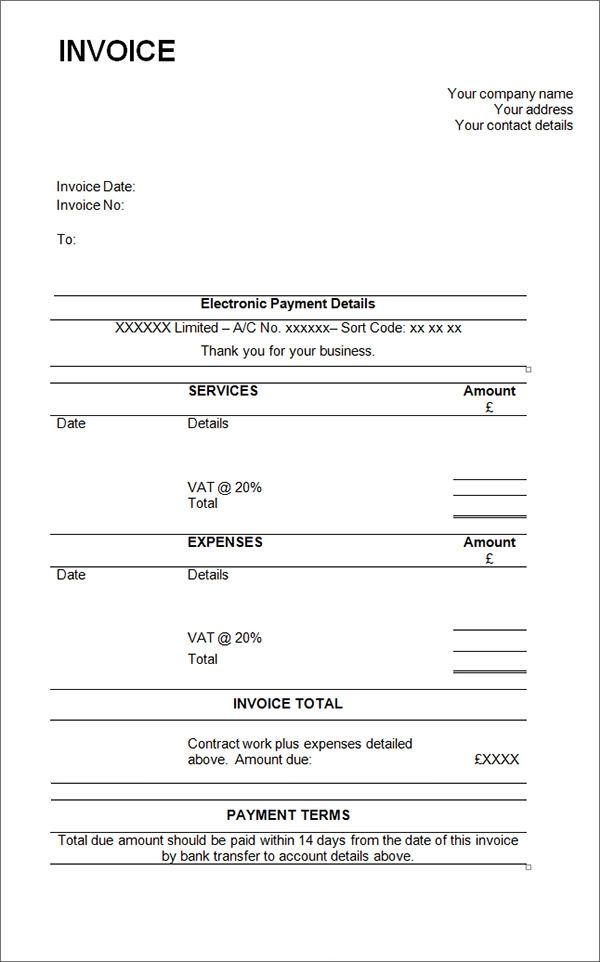 sample invoice for independent contractor