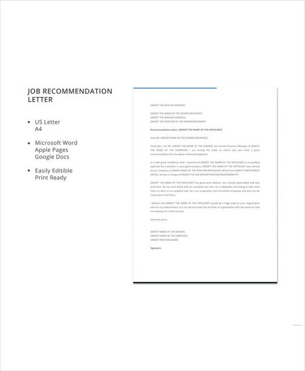 Sample Letters of Recommendation For a Job - 9+ Examples in PDF, Word