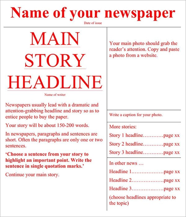 42+ Amazing Newspaper Templates Sample Templates - Newspaper Headline Template