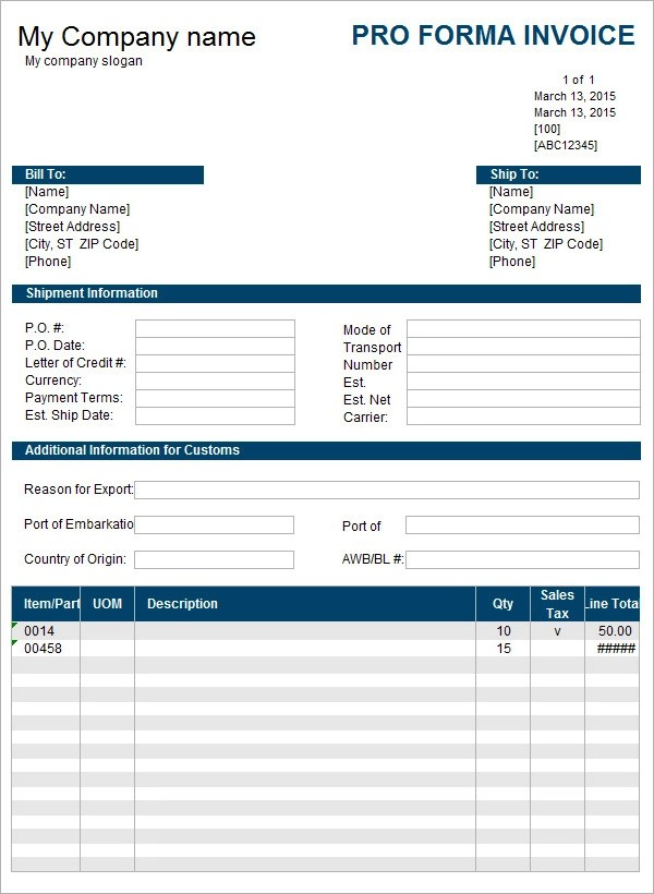 Free Proforma Invoice Template. Example Of Teamwork